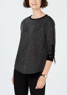 Charter Club Cotton Velvet-Trim Lace-Up Top, Created for Macy's