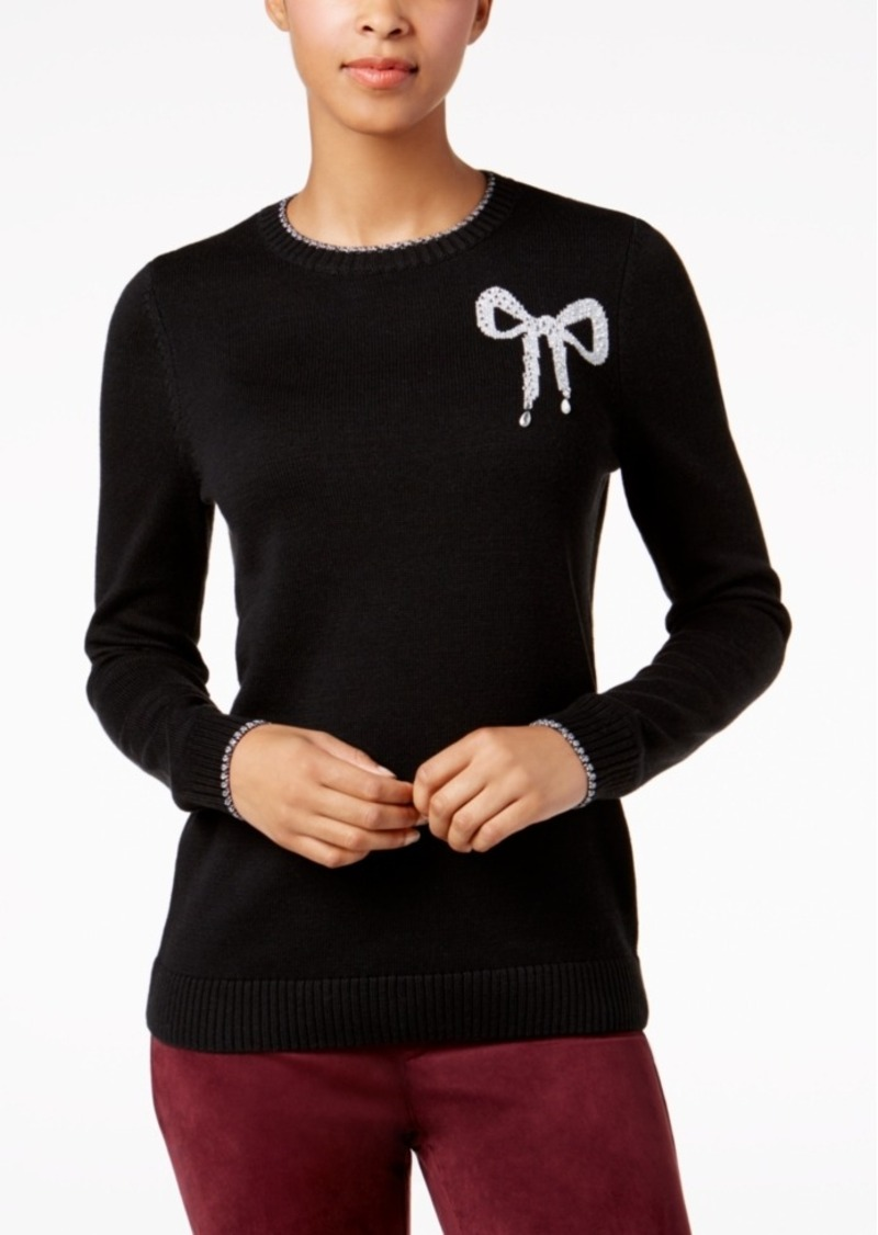 Charter Club Petite Bow Graphic Sweater, Created for Macy's