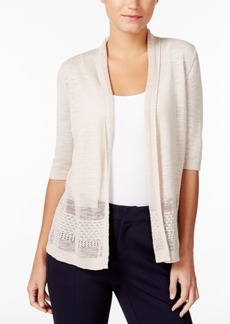Charter Club Crochet-Trim Open-Front Cardigan, Created for Macy's