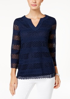 Charter Club Crocheted Split-Neck Top, Only at Macy's