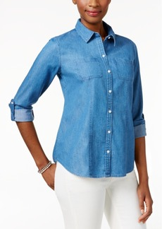 Charter Club Denim Roll-Tab Shirt, Only at Macy's