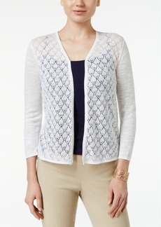 Charter Club Petite Diamond-Stitch Open-Front Cardigan, Created for Macy's