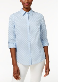 Charter Club Dobby-Dot Roll-Tab Shirt, Created for Macy's