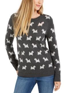 Charter Club Dog-Print Crewneck Sweater, Created For Macy's