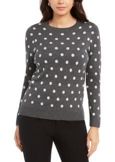 Charter Club Dot-Print Crewneck Sweater, Created For Macy's
