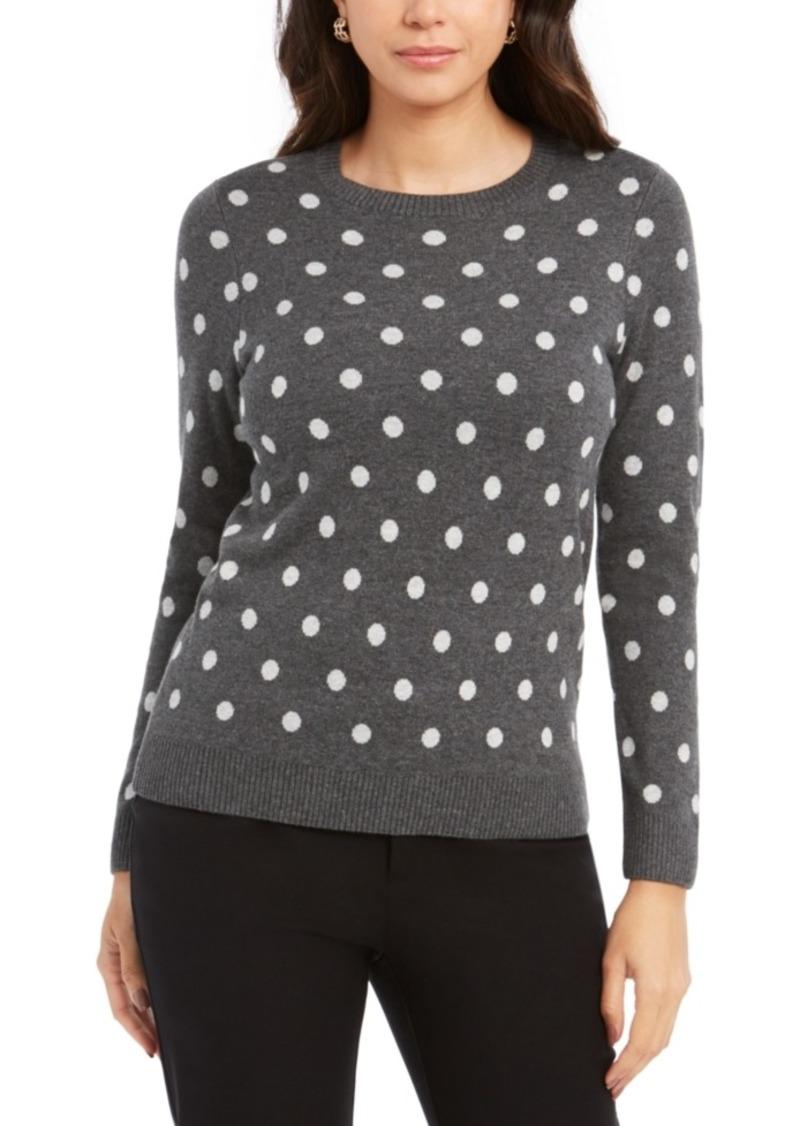 Charter Club Dot-Print Crewneck Sweater, Created For Macy's