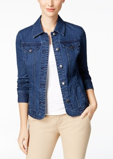 Charter Club Dot-Print Denim Jacket, Only at Macy's