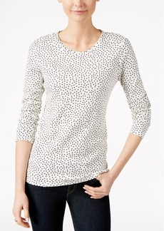 Charter Club Dot-Print Long-Sleeve Top, Only at Macy's