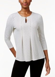 Charter Club Dot-Print Pleated Top, Only at Macy's