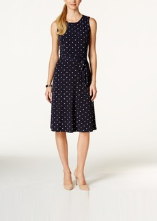 Charter Club Petite Sleeveless Polka-Dot Midi Dress, Only at Macy's