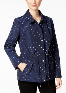 Charter Club Petite Water-Resistant Hooded Dot-Print Utility Jacket, Only at Macy's
