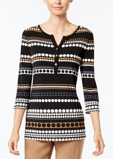 Charter Club Dot-Stripe Henley Top, Only at Macy's
