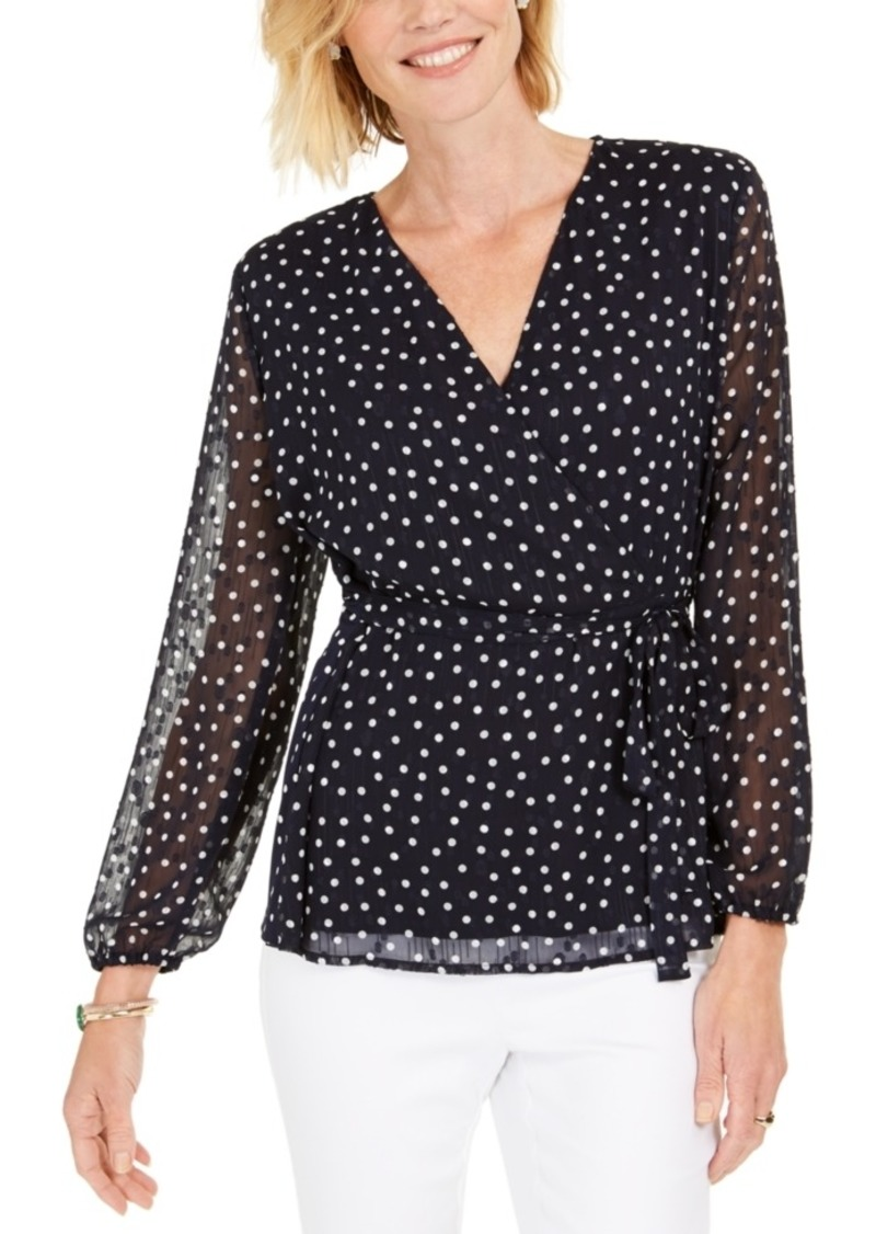 Charter Club Dotted Wrap Top, Created For Macy's