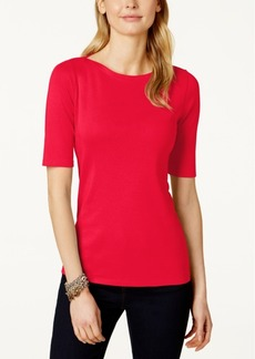 Charter Club Elbow-Sleeve Boat-Neck Top, Only at Macy's