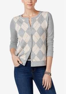 Charter Club Embellished Argyle Cardigan, Created for Macy's