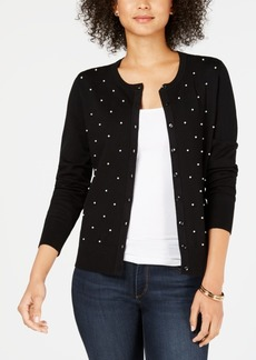 Charter Club Pearl Embellished Button-Down Cardigan, Created for Macy's