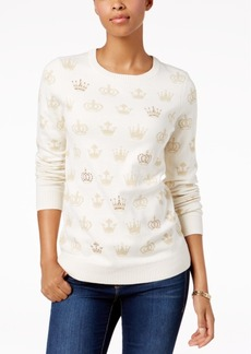 Charter Club Petite Crown-Print Sweater, Created for Macy's