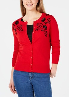 Charter Club Petite Beaded Sequined Cardigan, Created for Macy's