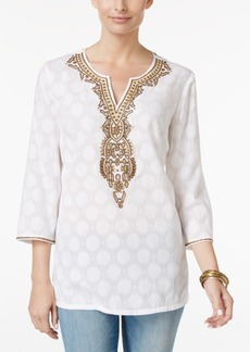 Charter Club Embellished Jacquard Tunic, Only at Macy's