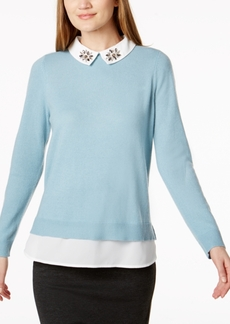 Charter Club Embellished Layered-Look Cashmere Sweater, Created for Macy's