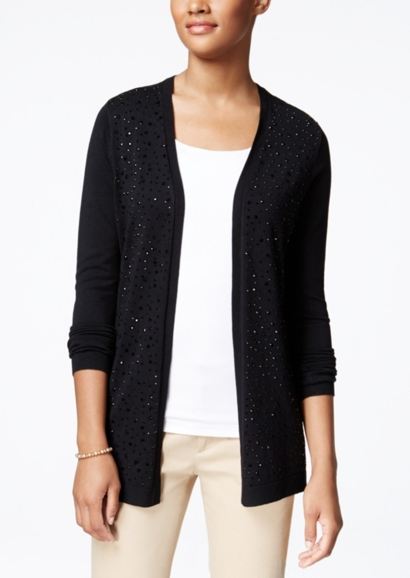 Charter Club Petite Embellished Open-Front Cardigan, Only at Macy's