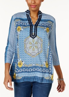 Charter Club Embellished Printed Tunic, Only at Macy's