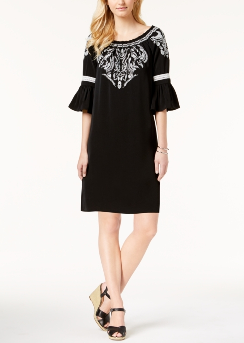 Charter Club Charter Club Embroidered Bell-Sleeve Dress, Created for ...