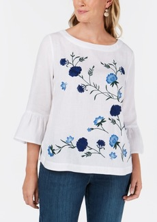Charter Club Petite Embroidered Bell-Sleeves Top, Created for Macy's