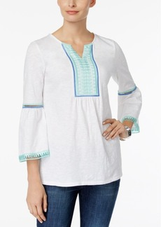 Charter Club Embroidered Bell-Sleeve Tunic, Created for Macy's