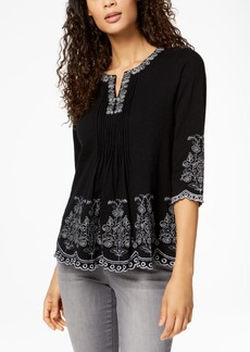 Charter Club Embroidered Cotton Top, Created for Macy's