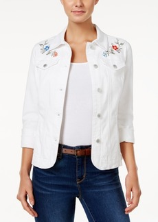 Charter Club Embroidered Denim Jacket, Created for Macy's