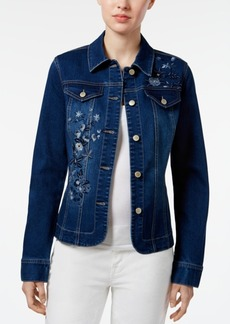 Charter Club Petite Floral-Embroidered Denim Jacket, Created for Macy's