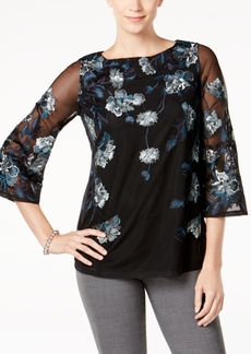 Charter Club Embroidered Floral Mesh Top, Created for Macy's