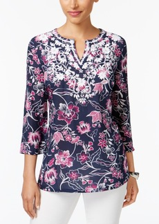 Charter Club Petite Printed Embroidered Tunic, Created for Macy's