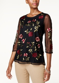 Charter Club Embroidered Illusion Top, Created for Macy's