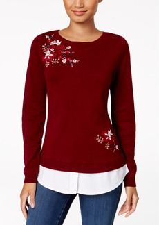 Charter Club Petite Embroidered Layered-Look Sweater, Created for Macy's