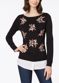 Charter Club Embroidered Layered-Look Sweater, Created for Macy's