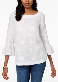 Charter Club Petite Linen Embroidered Top, Created for Macy's