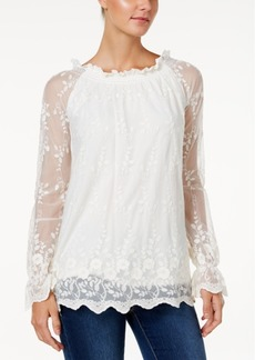 Charter Club Embroidered Mesh Peasant Top, Only at Macy's