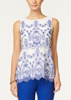 Charter Club Petite Embroidered Mesh Top, Created for Macy's