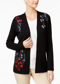 Charter Club Petite Embroidered Open-Front Cardigan, Created for Macy's