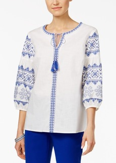 Charter Club Embroidered Peasant Top, Only at Macy's