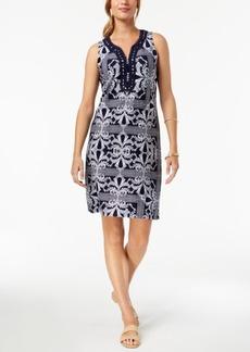 Charter Club Embroidered Split-Neck Shift Dress