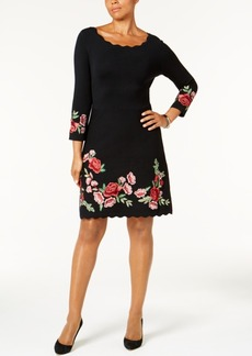 Charter Club Embroidered Sweater Dress, Created for Macy's