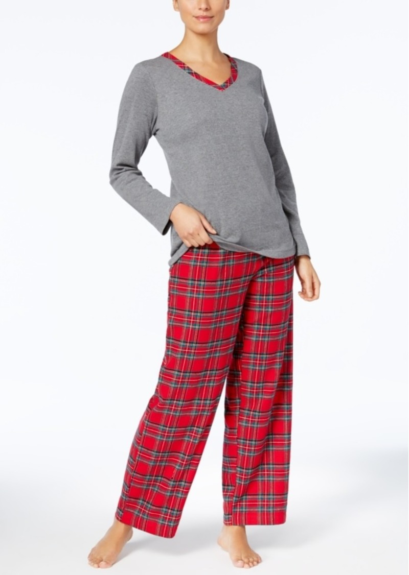 8d96a6a6fd Charter Club Charter Club Flannel Mix It Top   Printed Pants Pajama ...