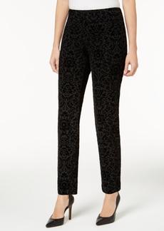 Charter Club Flocked Pattern Ponte Slim-Leg Pants, Only at Macy's