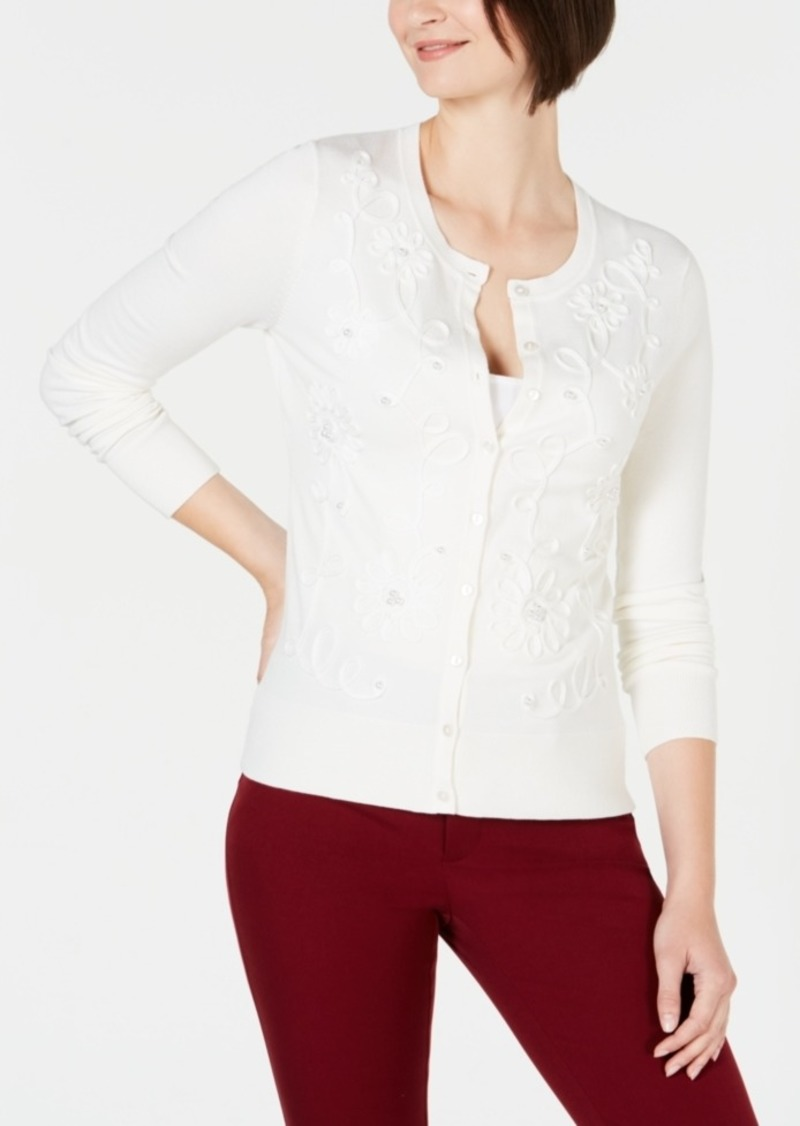Charter Club Floral-Applique Cardigan, Created for Macy's