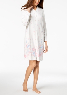 Charter Club Floral-Border Cotton Short Zip Robe, Created for Macy's