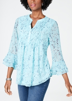 Charter Club Floral Double-Ruffle Blouse, Created for Macy's
