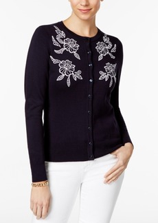 Charter Club Floral-Embroidered Cardigan, Only at Macy's